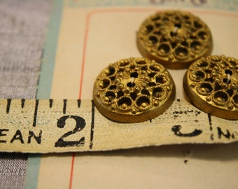 Vintage 1920's On Card BGW Gold Painted Filigree Partial 3 Button Set