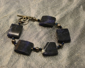 Natural Lapis with Quartz Veining beaded Bracelet and Sterling Clasp