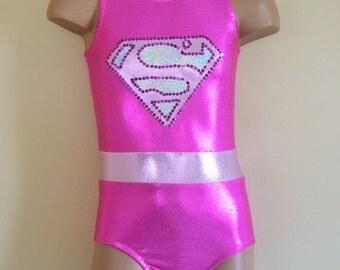 Supergirl Inspired Gymnastics Dance Leotard. Toddlers Girls Gymnastics Leotard. Dancewear. Performance Leotard. Size 2T through Girls 12