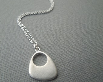 long pendant necklace, layering necklace, sterling silver, organic necklace, matte finish, everyday necklace, long simple necklace, N02