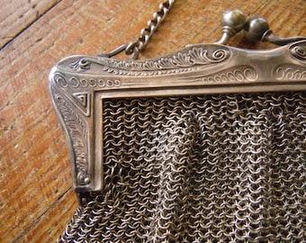 Vintage Art Nouveau Mesh Purse - German Silver - chainmail