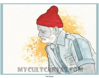 "Original ""The Zissou"" Life Aquatic Limited Edition 12"" x 16"" Art Poster Print by Phil Gibson Bill Murray"