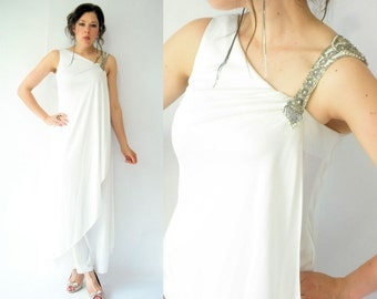 70's Vintage Open Back White Draped Grecian Goddess Maxi Dress / Beaded Shoulder / Beach Wedding Dress / Boho Wedding Dress