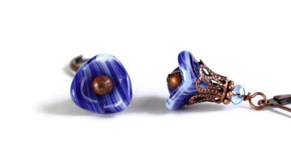 Blue and white trumpet bell flower and antique copper leverback earrings READY to ship (283) - Flat rate shipping