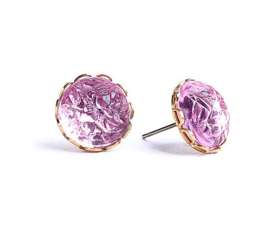 Light pink baroque jewel hypoallergenic surgical steel post earrings (444) - Flat rate shipping