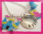 Fantasy Necklace  - Personalized  Necklace  - Customized Hand Stamped Charm Necklace for girls #P206