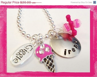 Personalized Necklace - GIGGLE - Hand Stamped Charm Necklace for Girls #i74