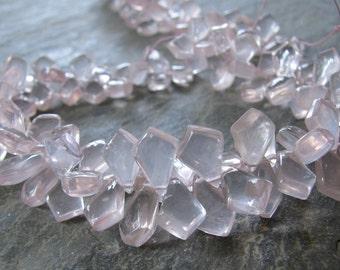 Rose Quartz Briolettes. Smooth Tilak Beads. 8 inch FULL strand (8k20)