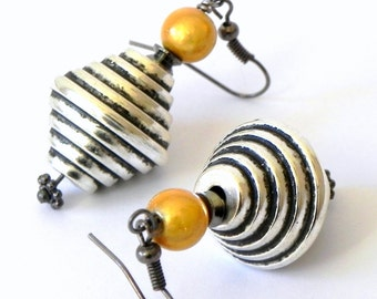 Dangle Silver beehive Lucite bead Earrings - Yellow Japanese miracle beads