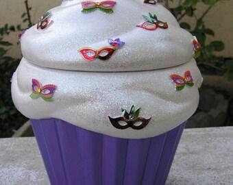 Mardi Gra Bling Cupcake Jar Purple Bottom