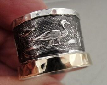 Stunning Israel Handmade Unique Hieroglyphs Gold Silver Ring 8 (I r262)Y