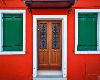 Burano Photograph Italy Photography Red Colorful Bold Colors Italian Village House Door ita4