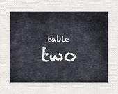 chalkboard crush printable table numbers - printable file