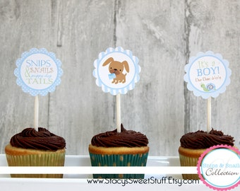 Snips and Snails Cupcake Toppers, DIY Printable