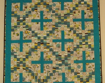 Patchwork Picnic Or Cuddle Quilt In Teals, Creams, Brown
