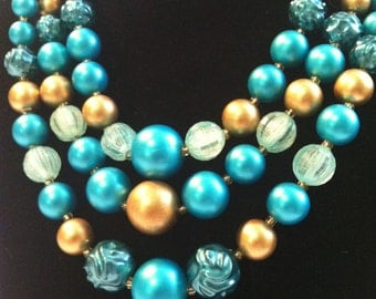 Vintage 50's / 60's // TRIPLE Strand NECKLACE & EARRING Set // Aqua Blue and Gold