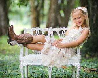 Champagne Chiffon Girls Dress- Flower Girl Dresses- Cream dress- Lace dress- Rustic Girls Dress- Baby Lace Dress- Junior Bridesmaid