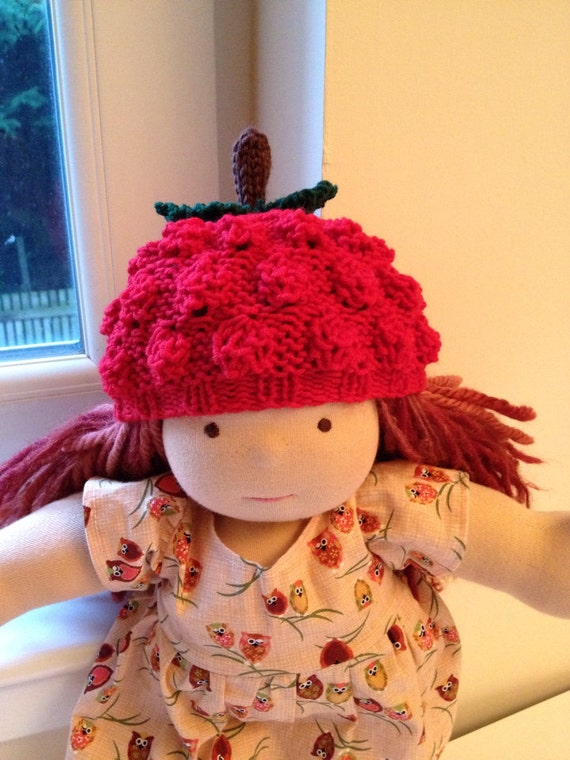 Hand-knitted Doll Raspberry Beanie / Beret - fits 14-16 inch Waldorf dolls and 18 inch American Girl dolls - Ready to ship