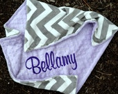 Chevron Baby Blanket-Grey Chevron-Lavender Minky-Baby Girl- Personalized -Multiple Sizes Available