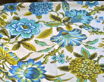 Vintage Fabric - Jacobean Flowers in Turquoise and Green - Cotton By the Yard