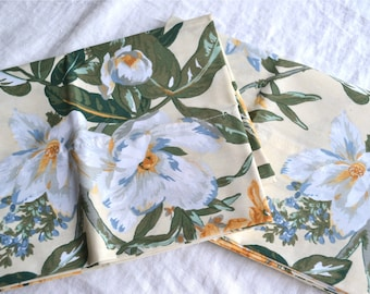 Vintage Pillowcases - Magnolia on Pale Yellow - King Size Pair NOS