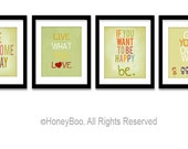 Set of 4 art prints, happy quotes, poster, typography prints, illustration, Green, from 8x10 inch up to 16x20 inch