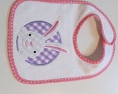 Ready To Ship,Baby Girls, White Terrycloth bib with pink trim, Easter Bunny Applique patch