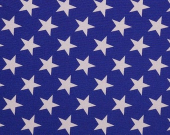 """Royal Blue with 2"""" White Stars Spandex Fabric"""