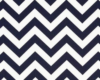 Pair (2 panels) designer drapes, Zig Zag twill navy blue white cotton