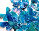 BUY 43 get 6 FREE teal butterflies - wedding confetti - mint turquoise edible butterflies - wedding cake decoration by Uniqdots on Etsy