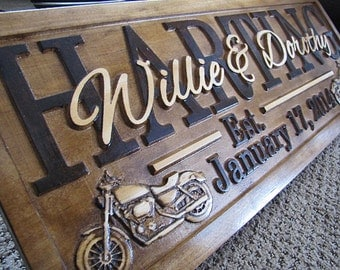 Personalized Family Name Signs custom wedding gift CARVED Wooden Sign Last name Anniversary Harley Davidson Motorcycle Bike Bikers Gift New