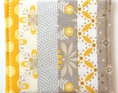Coasters Quilted Made with light  taupe Greys and pale Yellows Set of 4