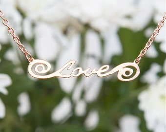 Rose Gold necklace with the word 'Love', Rose Gold chained necklace, Script love necklace, Modern jewelry, Typography necklace