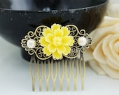 Wedding hair accessories Bridesmaids Gift Wedding Hair Comb Vintage Style Yellow Sakura Flower Bridal Hair Comb Bridal Hair accessories