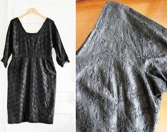 Vintage 50s 60s Black Evening Sheath Dress sz Large