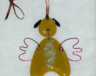 Mini Fused Glass Dog Angel -caramel/white