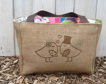 Eco Friendly Love Birds Market Tote Gift - Eco Friendly and Handmade from Recycled Coffee Sacks