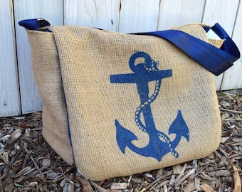 Nautical Anchor Messenger Bag, Handmade from a Recycled Coffee Sack