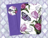 Note Card Set, Tulips, Floral Cards, Stickers