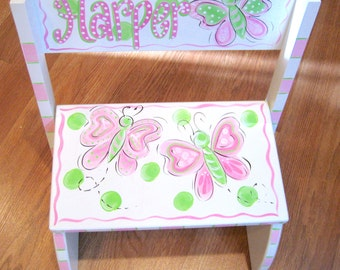 Hand Painted Butterfly Step Stool