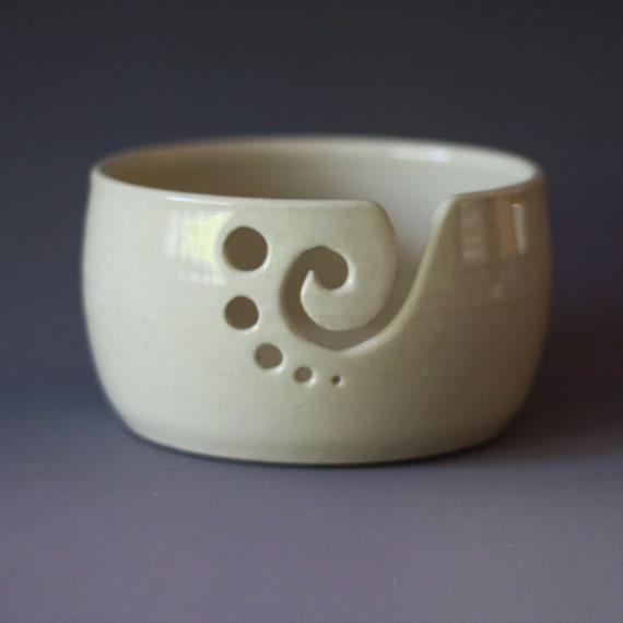 Yarn Bowl / Knitting Bowl / Crochet Bowl / White Yarn Bowl / 5 1/2 inch Yarn Bowl / Ready to Ship