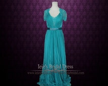 Teal Grecian Lace V neck Formal Prom Evening Dress with Sleeves | Fiona