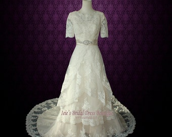 Modest Lace Wedding Dress with Round Jewel Neck Vintage Lace Wedding Dress with Sleeves| LDS Wedding Dress | Rustic Wedding Dress | Laura
