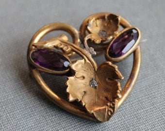 Victorian Amethyst Paste Heart Brooch / Love Token