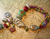 Gypsy Night - Bold Mixed Material and Found Treasures Bracelet