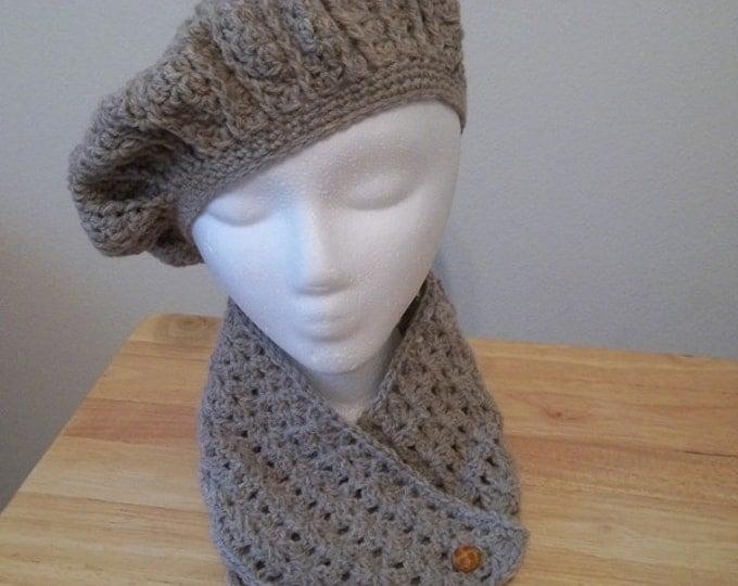 Hat - Crochet Set of Beret and Scarflette - Color Natural Melange