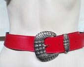 Womens Accessories. Vintage Belt. Vintage Ladies Belt. Vintage Clothing. Red Belt. 1980s Belt. Vinyl/Leather. Snake Skin Design Buckle.