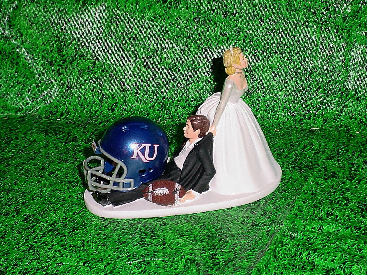Kansas Jayhawks Anxious Bride pulling Sports Fan Groom Funny