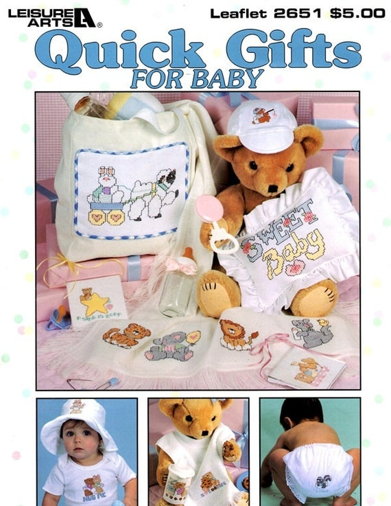 Quick Gifts for Baby Lamb Rabbit Tiger Stars Elephant Teddy Bear Counted Cross Stitch Embroidery Craft Pattern Leaflet 2651 Leisure Arts