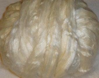 Tussah Silk Roving, Silk Roving, Ecru Silk Roving, White Silk Roving - 8oz